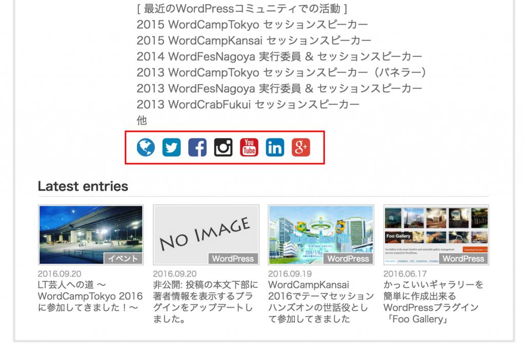 Post Author Display SNS icon